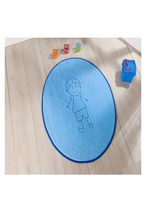 Tapete Formato Feltro Antiderrapante Ítalo Azul Turquesa