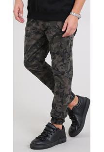 Calça De Sarja Masculina Jogger Skinny Estampada Camuflagem Verde Militar