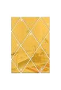 Espelho Acrílico Decorativo Adesivo Diamante Gold Dourado Losango 50Cmx50Cm