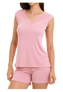 Pijama Curto Regata Sepie (1051) Liganete - Rose