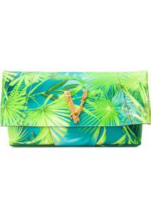 Versace Clutch Com Estampa Tropical - Verde