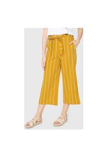 Calça Hering Pantacourt Listrada Amarela/Branca