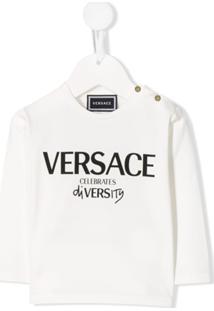 Young Versace Blusa Mangas Longas Com Logo - Branco