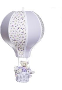 Lustre Balão Grande Com Ursinha Bebê Infantil Menina Potinho De Mel Lilás