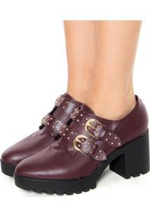Ankle Boot Vizzano Fivelas Vinho