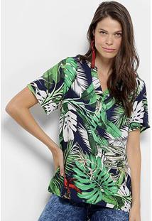 Camisa Manga Curta Mi Estampa Tropical Feminina - Feminino-Azul