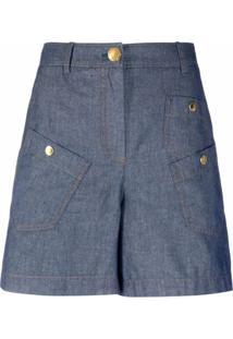 Boutique Moschino Camisa Jeans Com Bolso - Azul