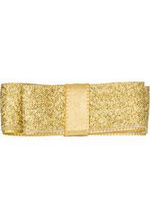 Presilha Gliter Laço Duplo Dourada - Roana