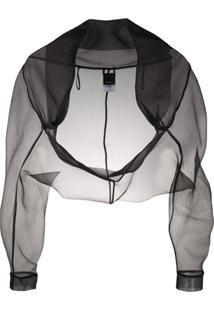 Pinko Sheer Cropped Jacket - Preto