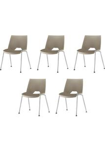 Kit 5 Cadeiras Strike Assento Bege Base Cromada - 57641 - Sun House