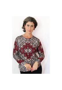 Blusa Patchwork Raglan Mandala Vermelha/Preta/Cru