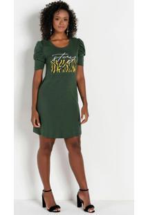 Vestido Estampado Com Brilho Verde