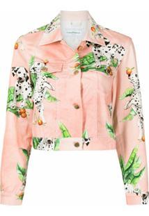 Casablanca Dalmatians-Motif Cotton Cropped Jacket - Rosa