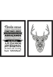 Conjunto Com 2 Quadros Decorativos Alce Preto E Branco