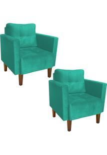 Kit 02 Poltrona Decorativa Lívia Para Sala E Recepção Suede Verde Tiffany - D'Rossi