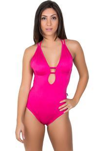 Body Kaisan Liso Com Tiras Rosa Pink
