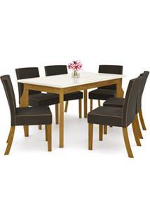 Sala De Jantar Mesa Retangular Ghala 160Cm Com 6 Cadeiras Maris Nature