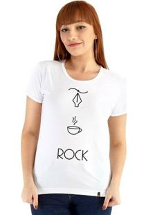 Baby Look Ouroboros Manga Curta Design+Café+Rock - Feminino-Branco