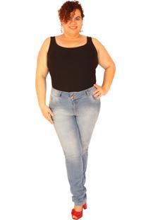 Calça Jeans True E-Motion Skinny Plus Size Jeans Claro Longa 92Cm Entrepernas