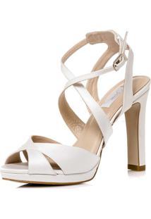Sandalia Noiva New White Tira Cruzada - Pg9823 Off White