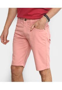Bermuda Sarja Coca-Cola Básica Color Comfort Masculina - Masculino-Rosa