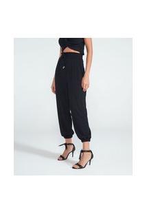 Calça Comfort Lisa Com Punhos E Cós Elástico | A-Collection | Preto | P