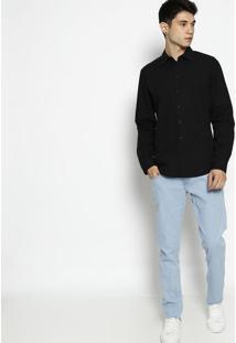 Camisa Super Slim Fit Lisa- Preta- Forumforum