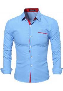 Camisa Masculina Slim Fit Estampa De Bolinhas Manga Longa - Azul Claro