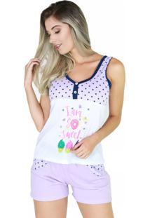 Pijama De Botão Blusinha Short Bravaa Modas 006 Violeta