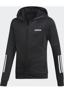 Blusa Infantil Capuz Logo Linear Adidas Feminina - Feminino-Preto