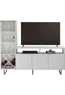 Rack Para Tv 55'' 3 Portas 2 Prateleiras Luz Branco 180X152Cm