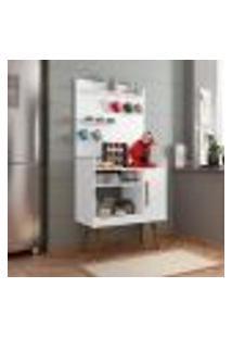 Aparador Cantinho Do Café Plus 1 Porta 3 Prateleiras Móveis Bechara Branco