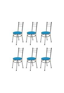Kit 6 Cadeiras Baixas 0.236 Redonda Cromado/Azul - Marcheli