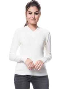 Blusa Logan Tricot Básica Linha E Lycra - Feminino-Off White