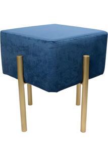 Puff De Ferro- Azul Escuro & Dourado- 45X39X39Cmdecor Glass