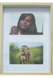 Quadro Para Fotos Wood Natural E Branco 20X30Cm
