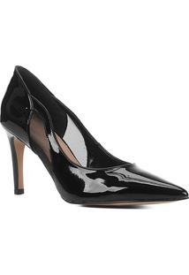Scarpin Shoestock Salto Alto Verniz Tela - Feminino-Preto