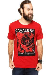 Camiseta Manga Curta Cavalera Rosa Vermelha