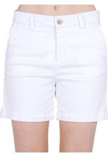 Bermuda Alfaiataria Sarja Cantão - Feminino-Branco