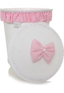 Lixeira Plástica Batistela Baby Brilhante Branca E Rosa