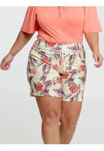 Short Feminino Tropical Amarração Plus Size