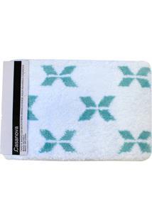 Tapete De Banheiro Em Microfibra 40X60Cm Branco E Verde Água
