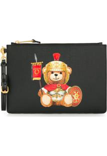 Moschino Clutch Teddy Bear Com Logo - Preto