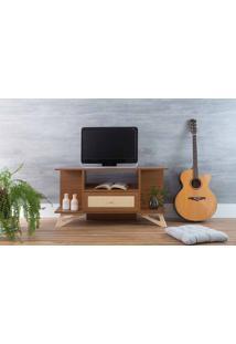 Rack Para Tv Pequeno Madeirado Stills Freijó Com Taeda 108X33,6X56,5Cm