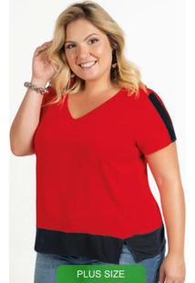 Blusa Em Tecido Com Decote V Vermelho