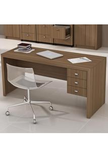 Mesa Para Escritório 3 Gavetas Me4113 Amendoa - Tecno Mobili