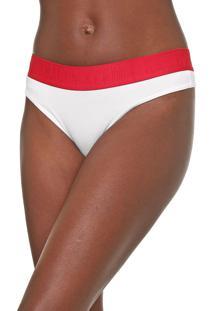 Calcinha Calvin Klein Underwear Fio Dental Lettering Branca
