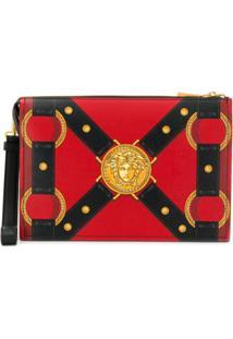 Versace Clutch Com Estampa Harness - Vermelho