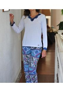 Pijama Longo Com Renda Paisley Lua Cheia (0946) Poliviscose