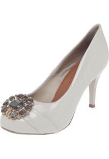 Scarpin Dafiti Shoes Pedrarias Off-White